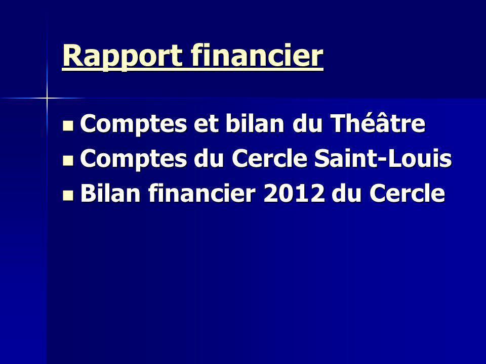 Rapport financier Rapport financier Comptes et bilan du Théâtre Comptes et bilan du Théâtre Comptes du Cercle Saint-Louis Comptes du Cercle Saint-Louis Bilan financier 2012 du Cercle Bilan financier 2012 du Cercle