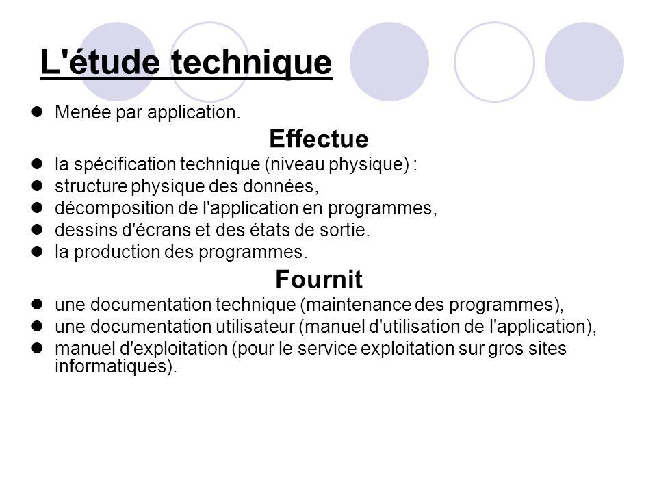 L'étude technique Menée par application. Effectue la spécification technique (niveau physique) : structure physique des données, décomposition de l'ap