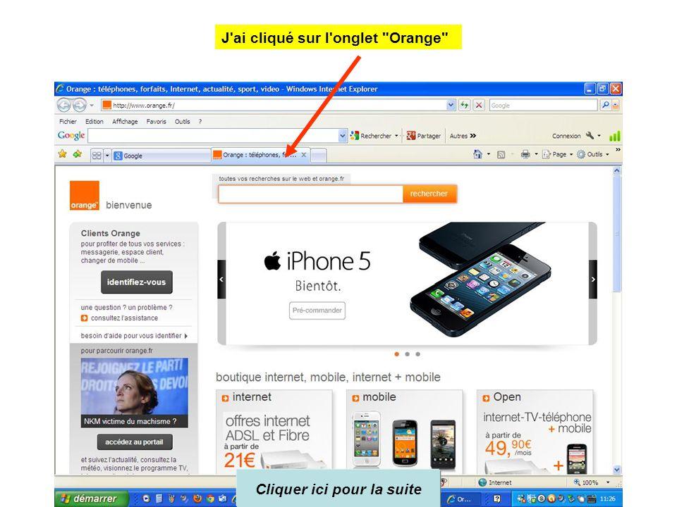 Cliquer ici pour la suite Et voici la page d'accueil rectifiée et la page orange dans l'onglet suivant