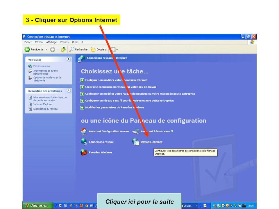2 - Cliquer sur connexion réseau et Internet