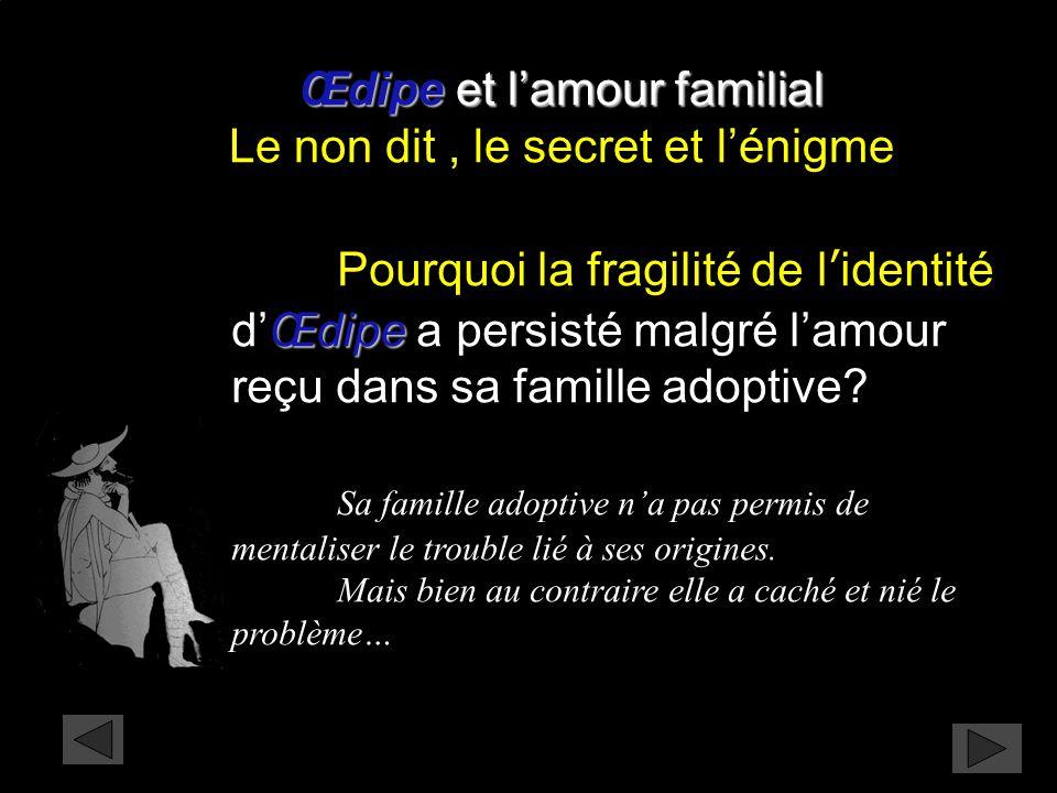 Œdipe Pourquoi la fragilité de l'identité d'Œdipe a persisté malgré l'amour reçu dans sa famille adoptive? Sa famille adoptive n'a pas permis de menta