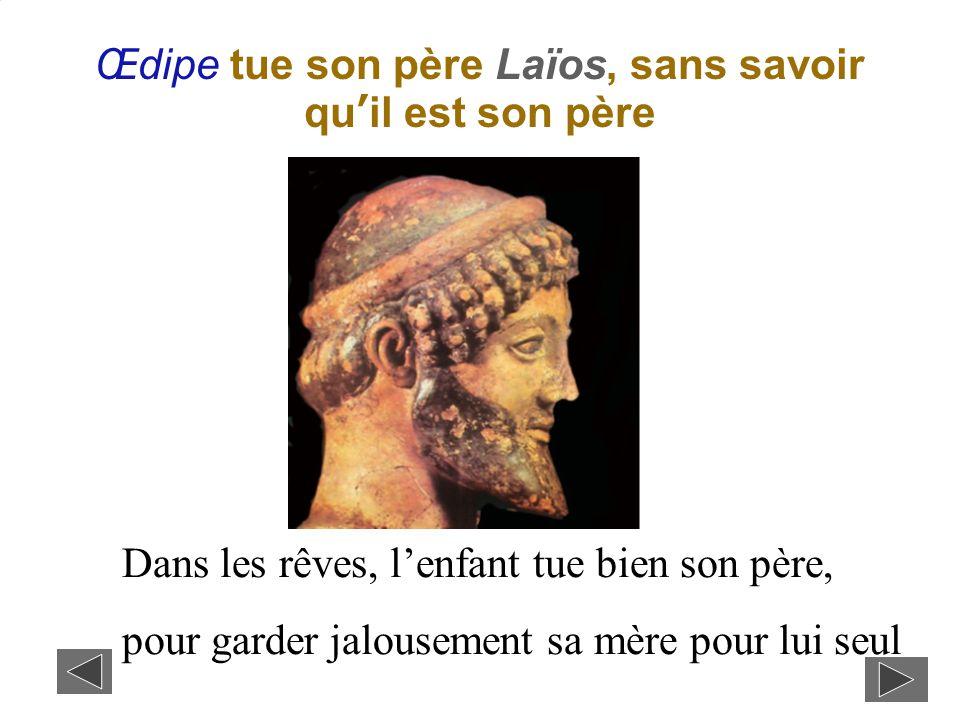 Œdipe tue son père Laïos, sans savoir qu'il est son père Dans les rêves, l'enfant tue bien son père, pour garder jalousement sa mère pour lui seul