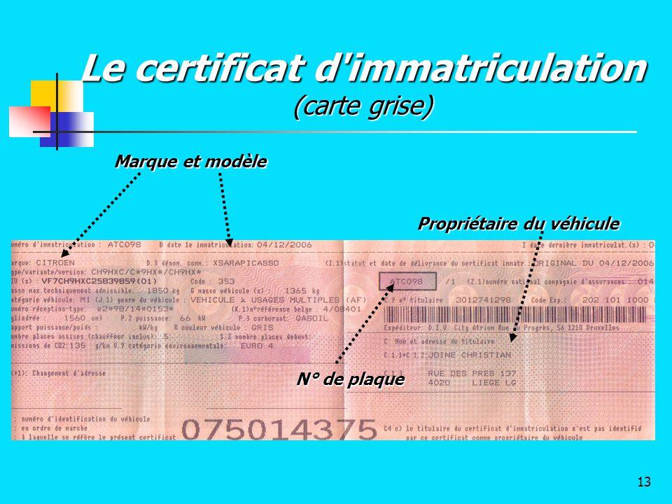 Le certificat d'immatriculation (carte grise) Marque et modèle N° de plaque Propriétaire du véhicule 13