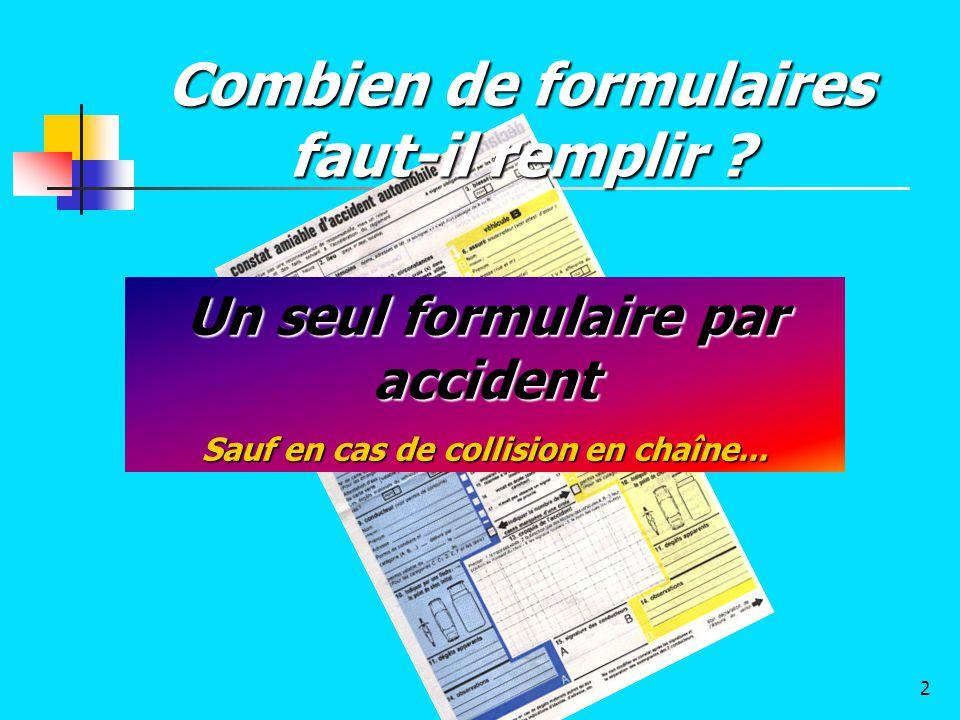 Un seul formulaire par accident Sauf en cas de collision en chaîne... Combien de formulaires faut-il remplir ? 2