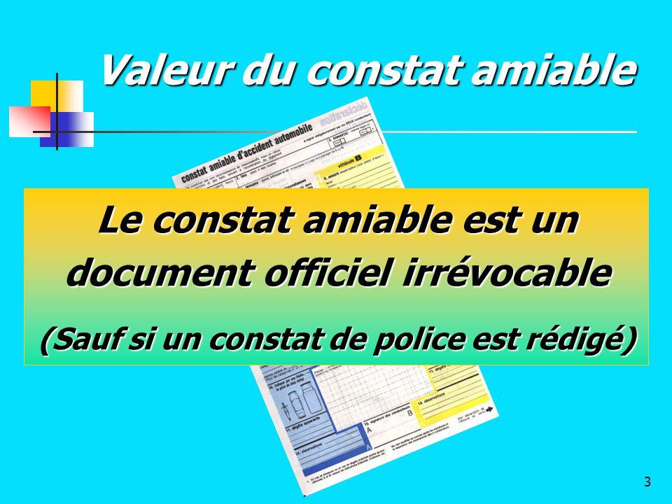 Valeur du constat amiable Le constat amiable est un document officiel irrévocable (Sauf si un constat de police est rédigé) 3