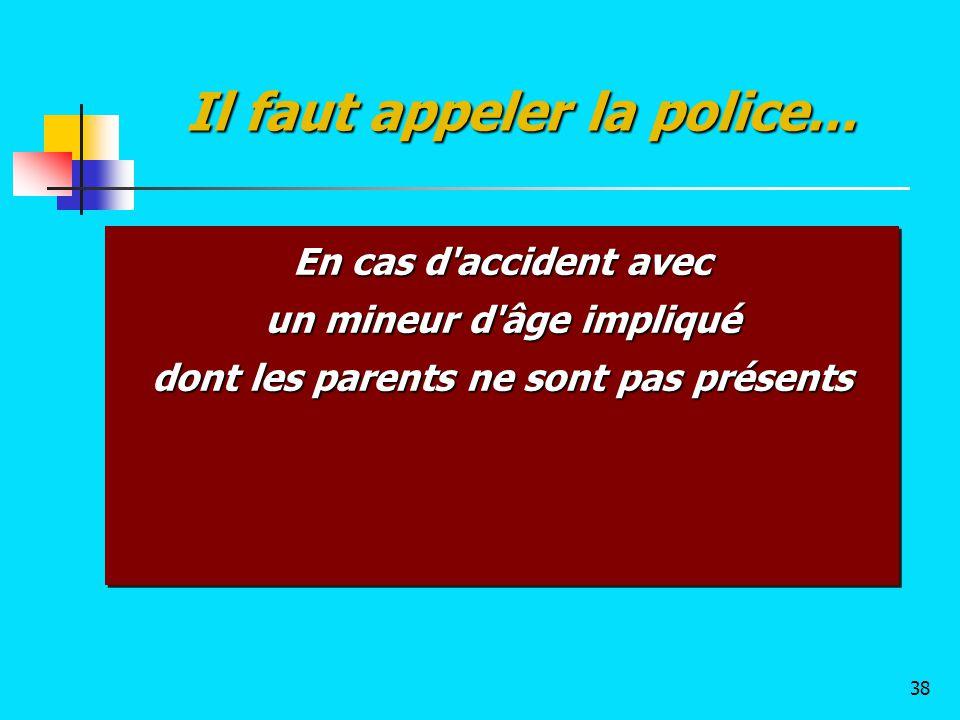 En cas d'accident avec un mineur d'âge impliqué dont les parents ne sont pas présents En cas d'accident avec un mineur d'âge impliqué dont les parents