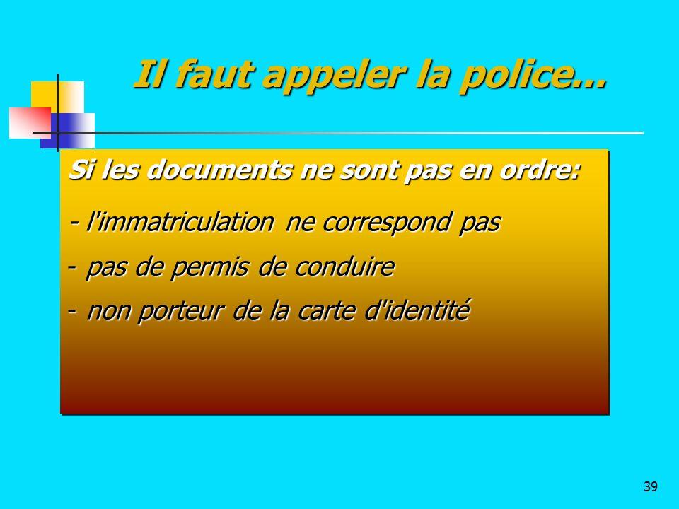 Si les documents ne sont pas en ordre: - l'immatriculation ne correspond pas - pas de permis de conduire - non porteur de la carte d'identité Si les d
