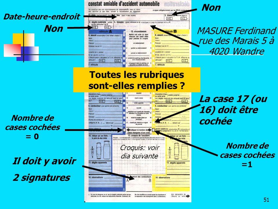 Non Nombre de cases cochées = 0 Nombre de cases cochées =1 La case 17 (ou 16) doit être cochée MASURE Ferdinand rue des Marais 5 à 4020 Wandre Il doit