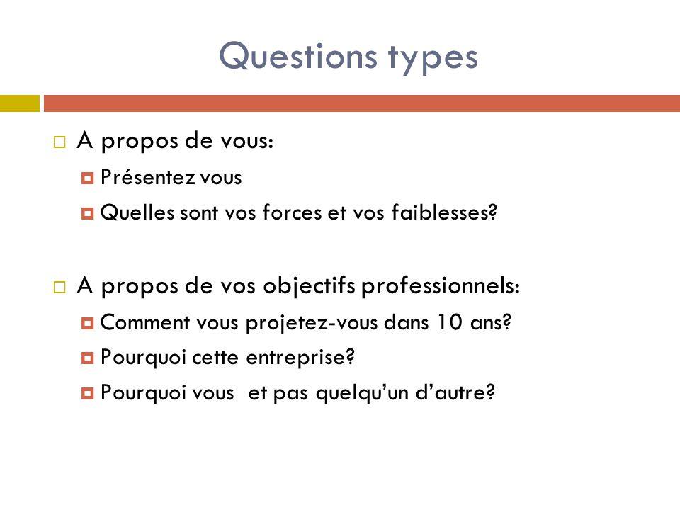 Questions types  A propos de vous:  Présentez vous  Quelles sont vos forces et vos faiblesses.