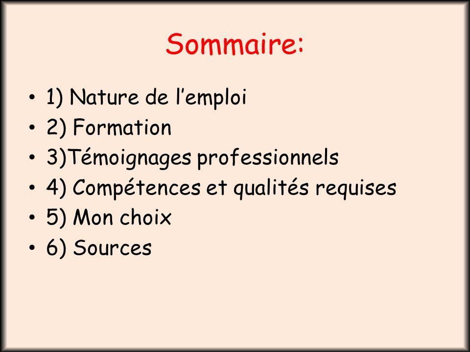 Sommaire: 1) Nature de l'emploi 2) Formation 3)Témoignages professionnels 4) Compétences et qualités requises 5) Mon choix 6) Sources