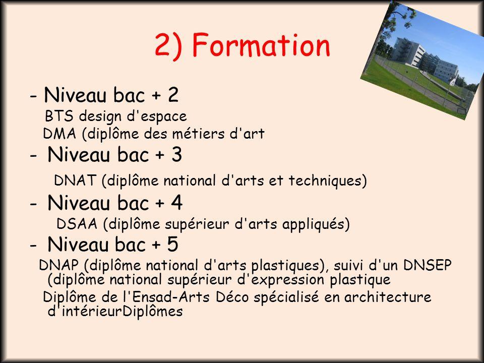 2) Formation - Niveau bac + 2 BTS design d'espace DMA (diplôme des métiers d'art -Niveau bac + 3 DNAT (diplôme national d'arts et techniques) -Niveau