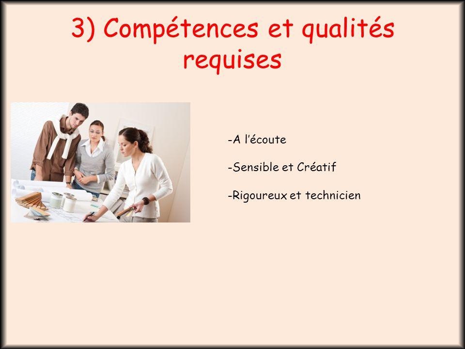 3) Compétences et qualités requises -A l'écoute -Sensible et Créatif -Rigoureux et technicien