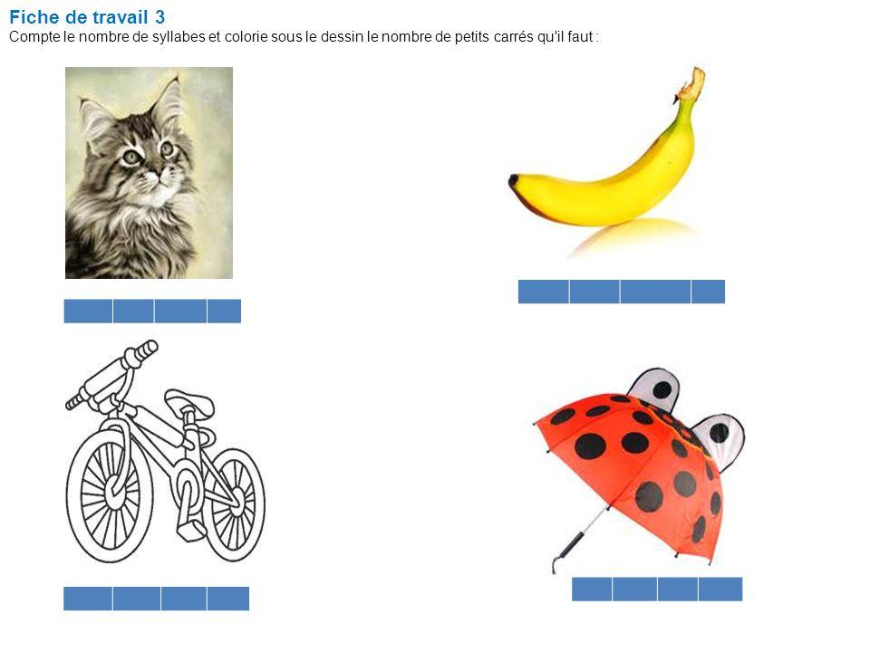Fiche de travail 3 Compte le nombre de syllabes et colorie sous le dessin le nombre de petits carrés qu'il faut : Une grille d'autoévaluation