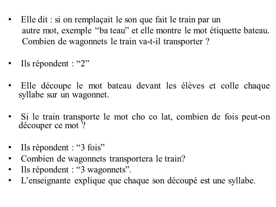 """Elle dit : si on remplaçait le son que fait le train par un autre mot, exemple """"ba teau"""" et elle montre le mot étiquette bateau. Combien de wagonnets"""