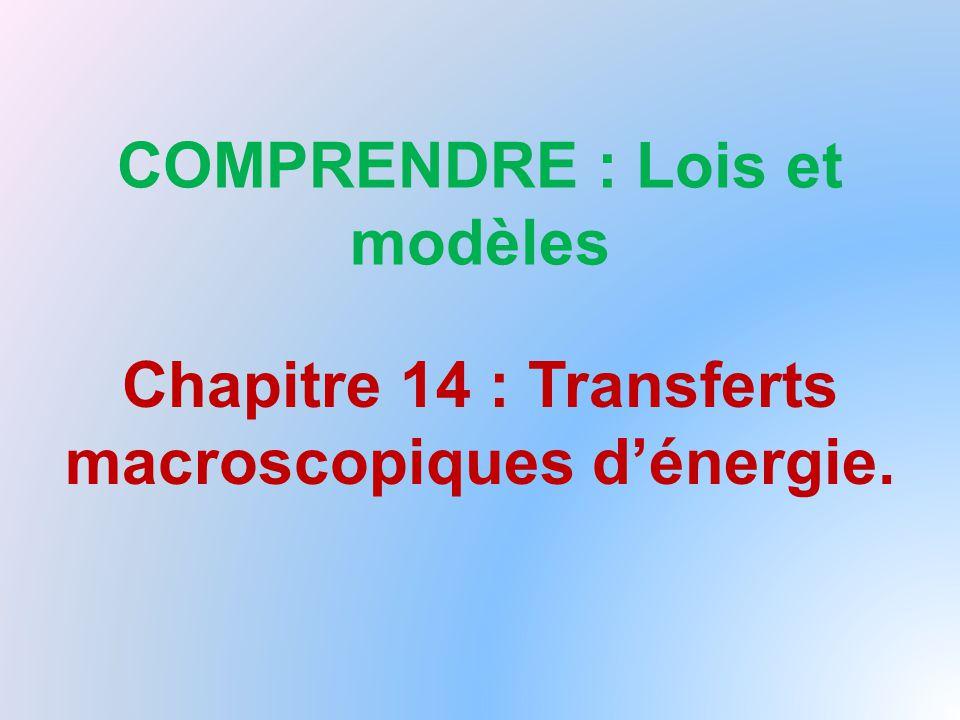 COMPRENDRE : Lois et modèles Chapitre 14 : Transferts macroscopiques d'énergie.