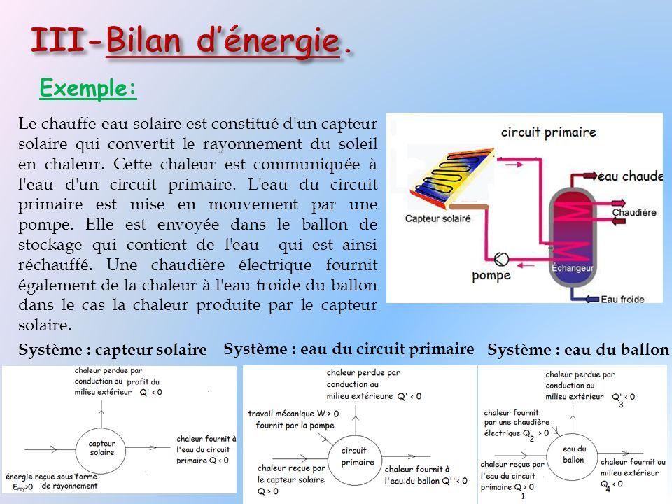 Exemple: Le chauffe-eau solaire est constitué d'un capteur solaire qui convertit le rayonnement du soleil en chaleur. Cette chaleur est communiquée à