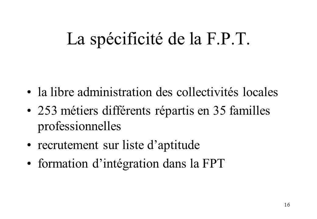 16 La spécificité de la F.P.T. la libre administration des collectivités locales 253 métiers différents répartis en 35 familles professionnelles recru
