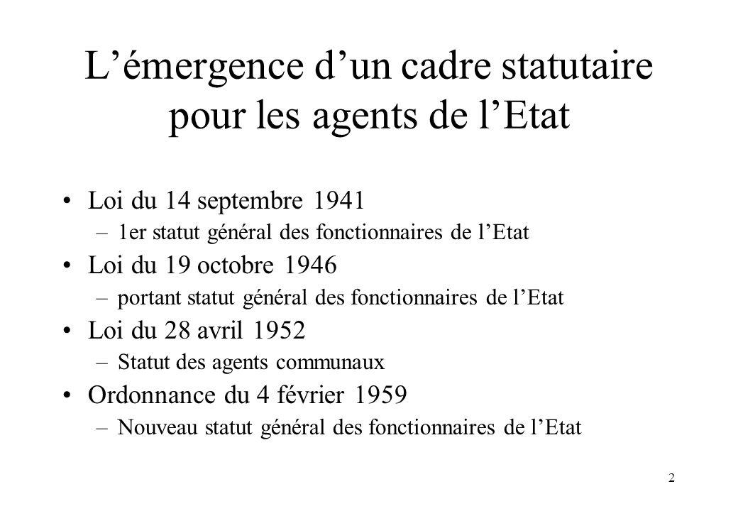 2 L'émergence d'un cadre statutaire pour les agents de l'Etat Loi du 14 septembre 1941 –1er statut général des fonctionnaires de l'Etat Loi du 19 octo