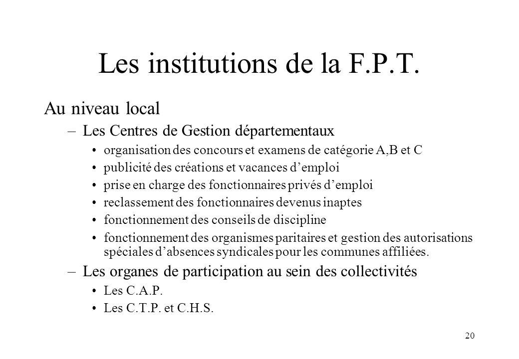 20 Les institutions de la F.P.T. Au niveau local –Les Centres de Gestion départementaux organisation des concours et examens de catégorie A,B et C pub