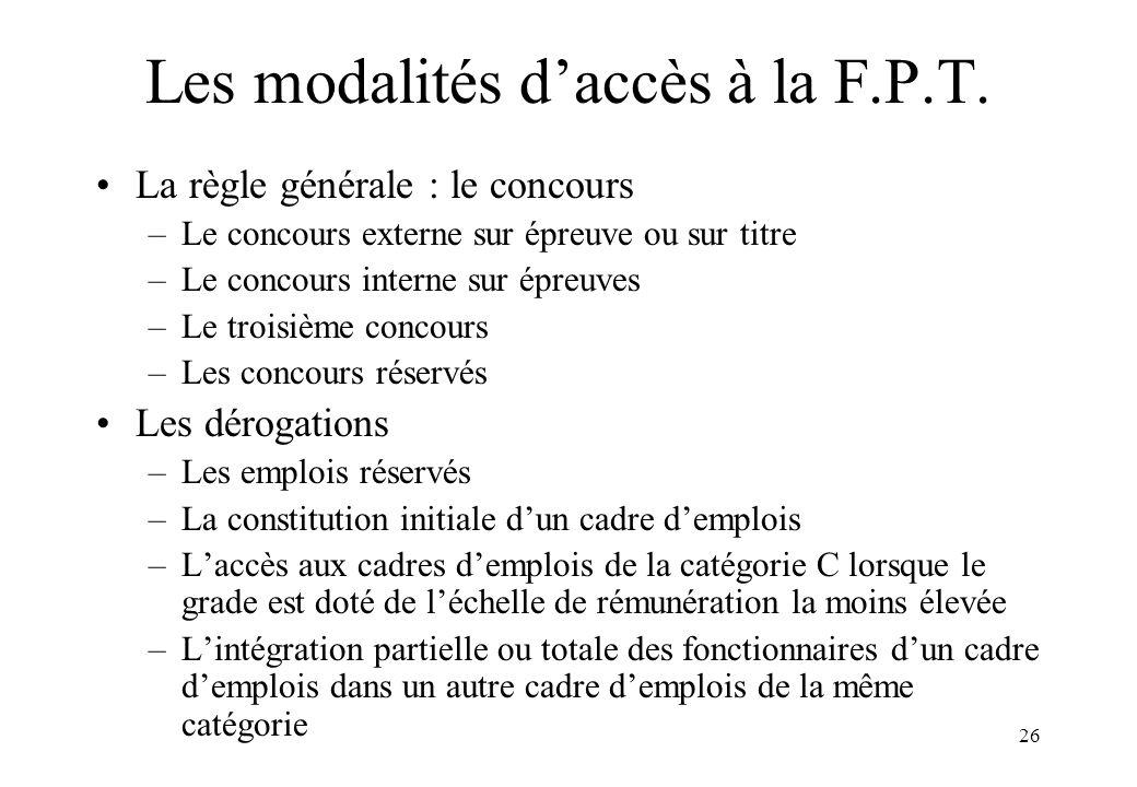 26 Les modalités d'accès à la F.P.T. La règle générale : le concours –Le concours externe sur épreuve ou sur titre –Le concours interne sur épreuves –
