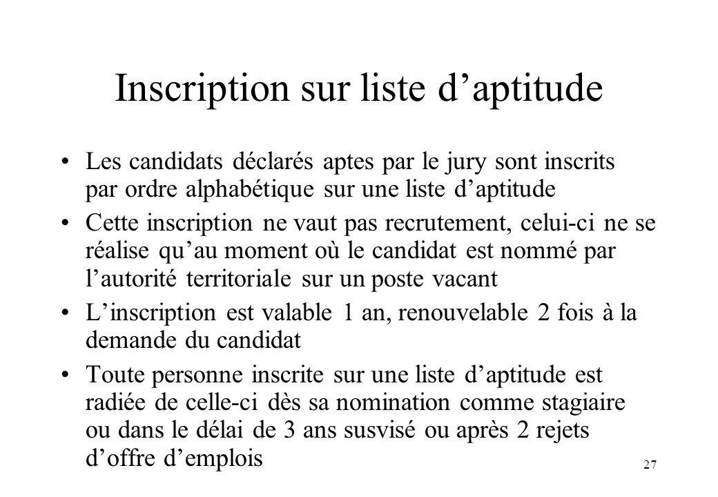 27 Inscription sur liste d'aptitude Les candidats déclarés aptes par le jury sont inscrits par ordre alphabétique sur une liste d'aptitude Cette inscr