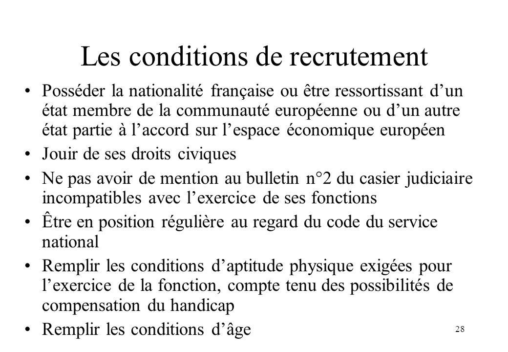 28 Les conditions de recrutement Posséder la nationalité française ou être ressortissant d'un état membre de la communauté européenne ou d'un autre ét