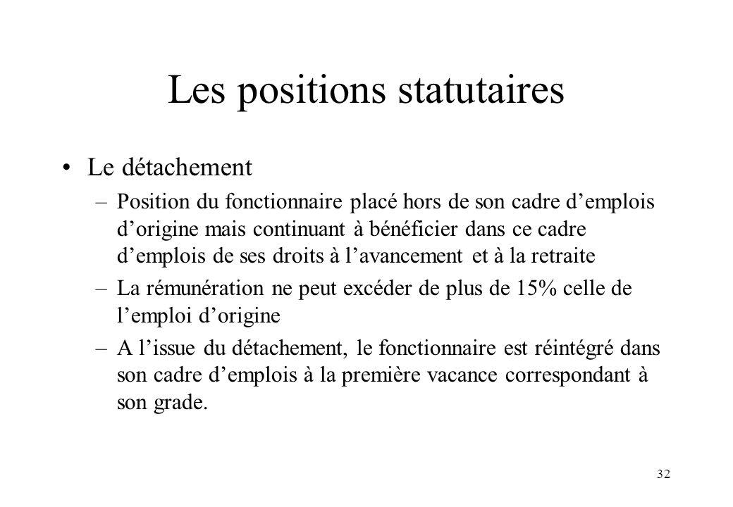 32 Les positions statutaires Le détachement –Position du fonctionnaire placé hors de son cadre d'emplois d'origine mais continuant à bénéficier dans c