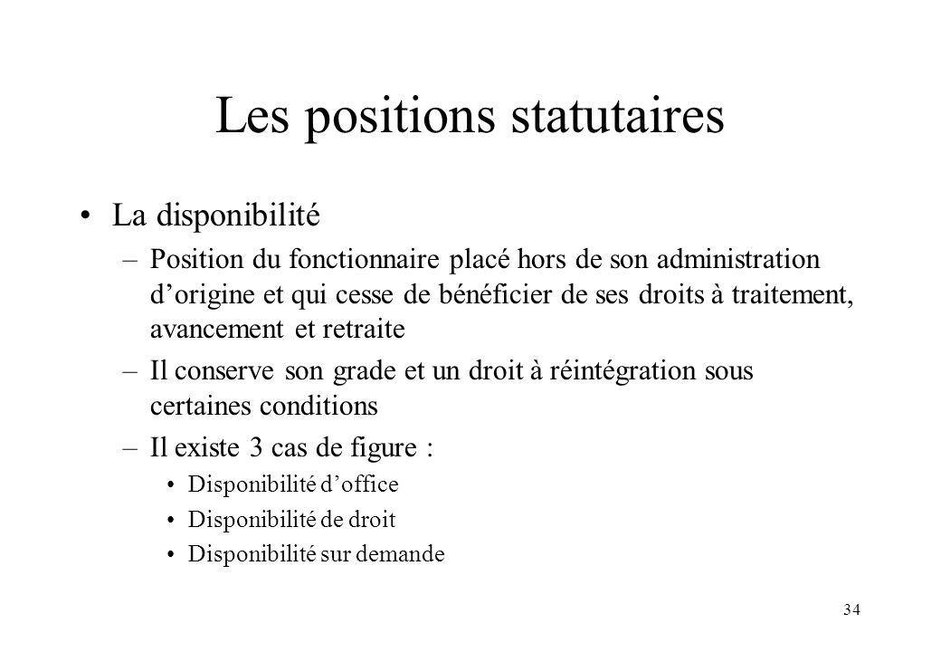 34 Les positions statutaires La disponibilité –Position du fonctionnaire placé hors de son administration d'origine et qui cesse de bénéficier de ses