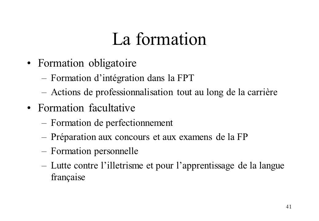 41 La formation Formation obligatoire –Formation d'intégration dans la FPT –Actions de professionnalisation tout au long de la carrière Formation facu
