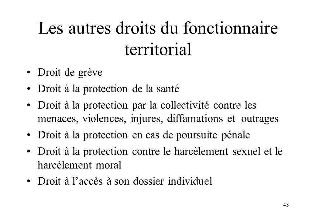 43 Les autres droits du fonctionnaire territorial Droit de grève Droit à la protection de la santé Droit à la protection par la collectivité contre le