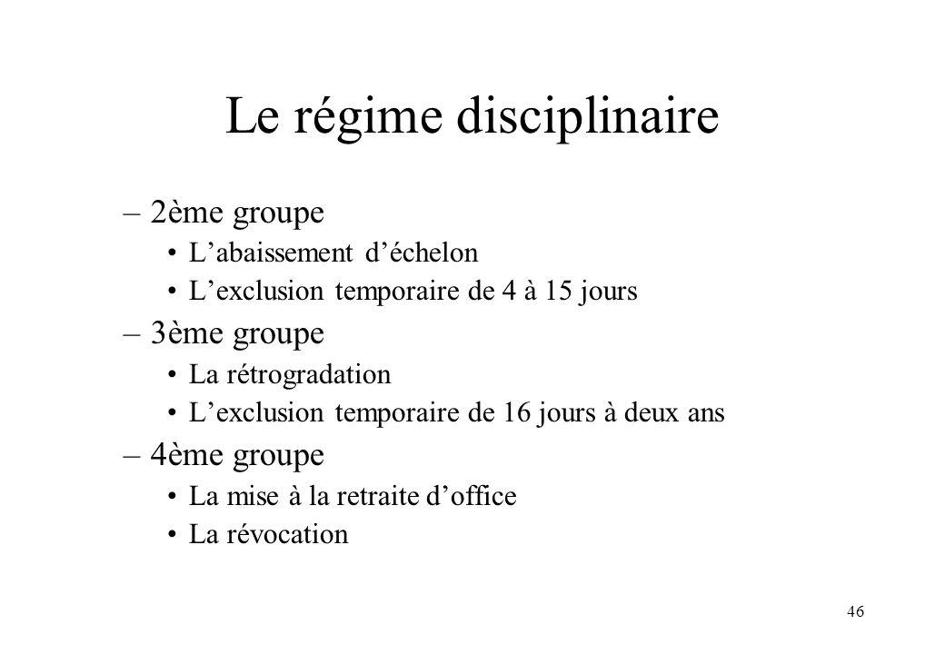 46 Le régime disciplinaire –2ème groupe L'abaissement d'échelon L'exclusion temporaire de 4 à 15 jours –3ème groupe La rétrogradation L'exclusion temp