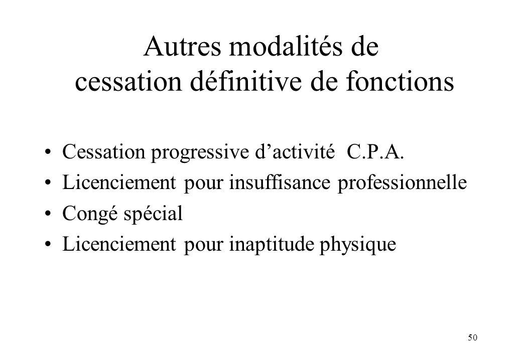 50 Autres modalités de cessation définitive de fonctions Cessation progressive d'activité C.P.A. Licenciement pour insuffisance professionnelle Congé