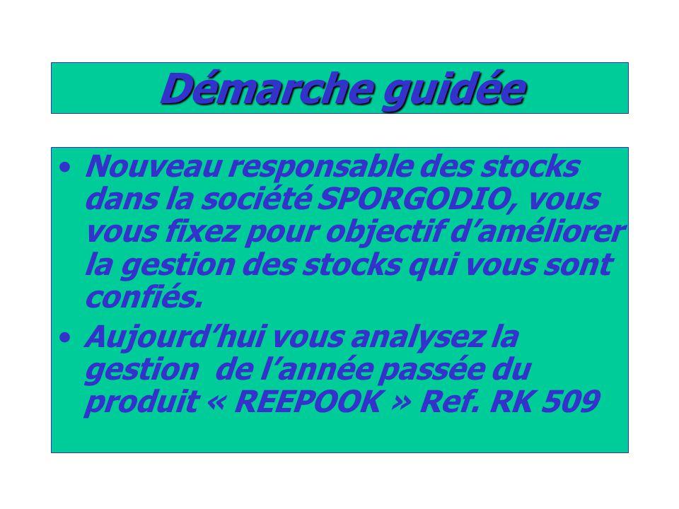 Démarche guidée Nouveau responsable des stocks dans la société SPORGODIO, vous vous fixez pour objectif d'améliorer la gestion des stocks qui vous sont confiés.