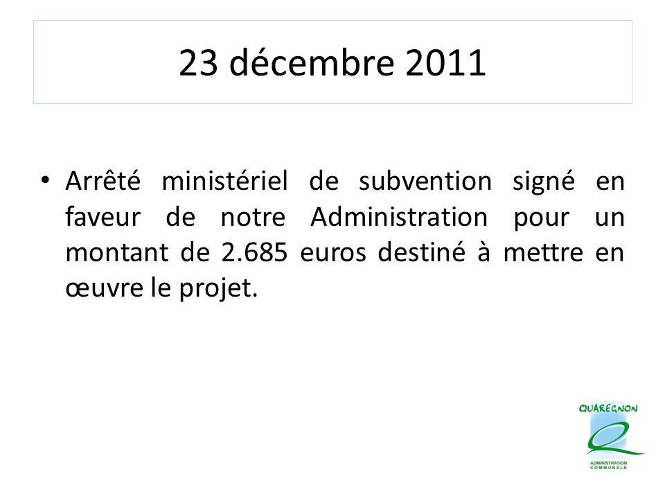 23 décembre 2011 Arrêté ministériel de subvention signé en faveur de notre Administration pour un montant de 2.685 euros destiné à mettre en œuvre le projet.