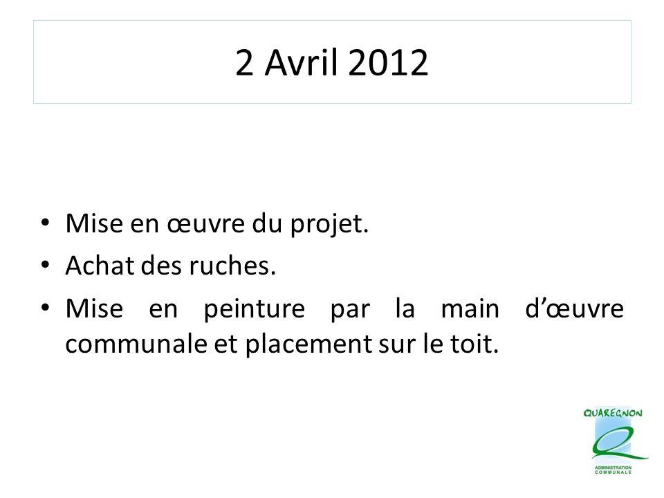 2 Avril 2012 Mise en œuvre du projet. Achat des ruches. Mise en peinture par la main d'œuvre communale et placement sur le toit.