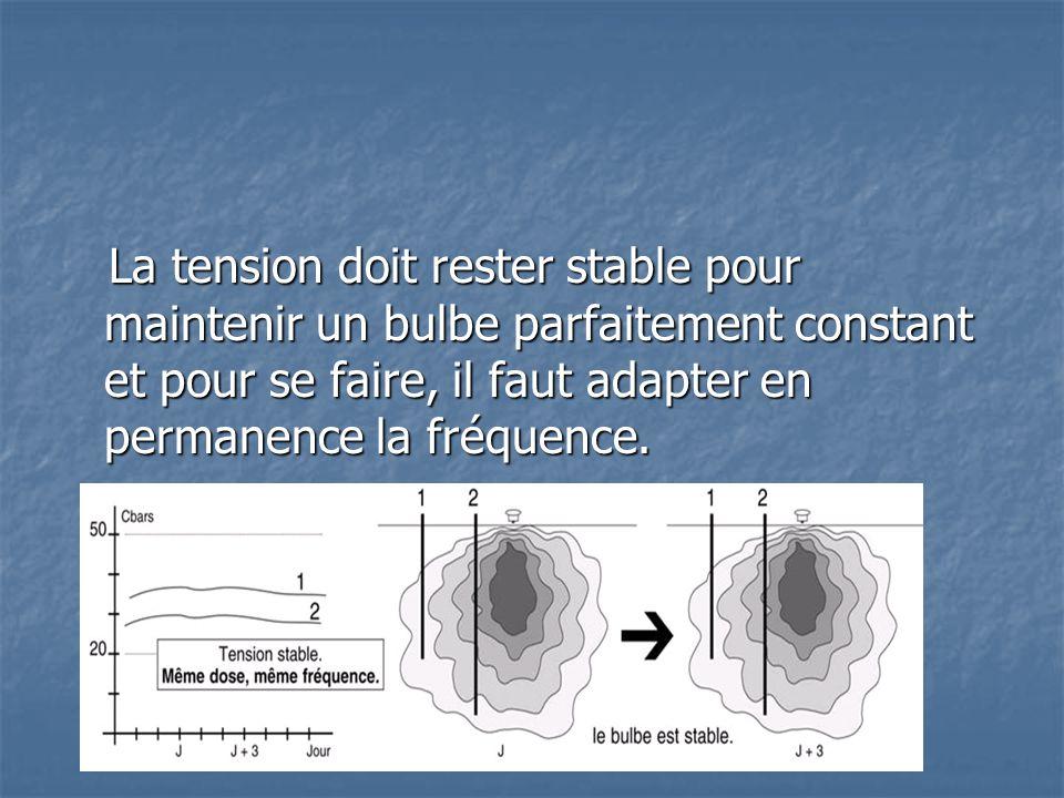 La tension doit rester stable pour maintenir un bulbe parfaitement constant et pour se faire, il faut adapter en permanence la fréquence. La tension d