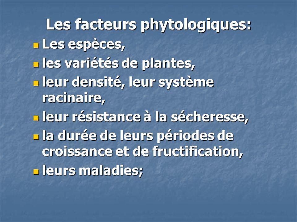 Les facteurs phytologiques: Les espèces, Les espèces, les variétés de plantes, les variétés de plantes, leur densité, leur système racinaire, leur den
