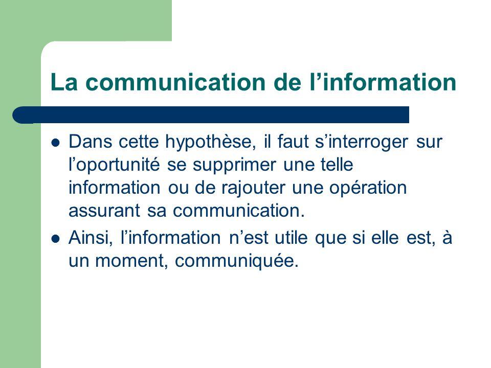 La communication de l'information Dans cette hypothèse, il faut s'interroger sur l'oportunité se supprimer une telle information ou de rajouter une opération assurant sa communication.