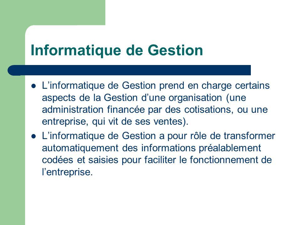 Informatique de Gestion L'informatique de Gestion prend en charge certains aspects de la Gestion d'une organisation (une administration financée par des cotisations, ou une entreprise, qui vit de ses ventes).