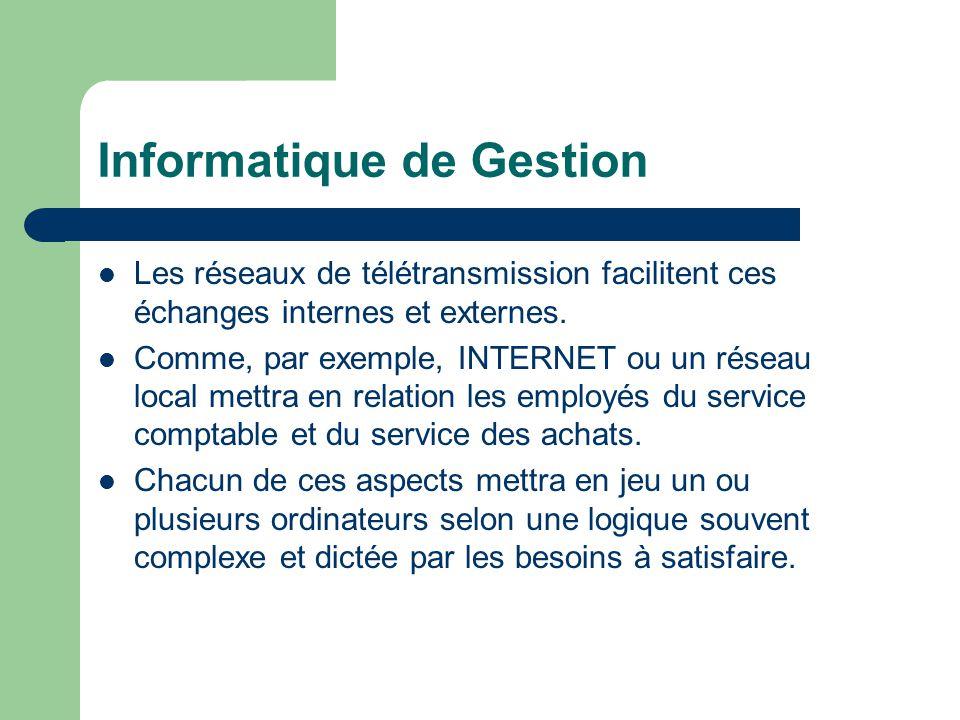 Informatique de Gestion Les réseaux de télétransmission facilitent ces échanges internes et externes.