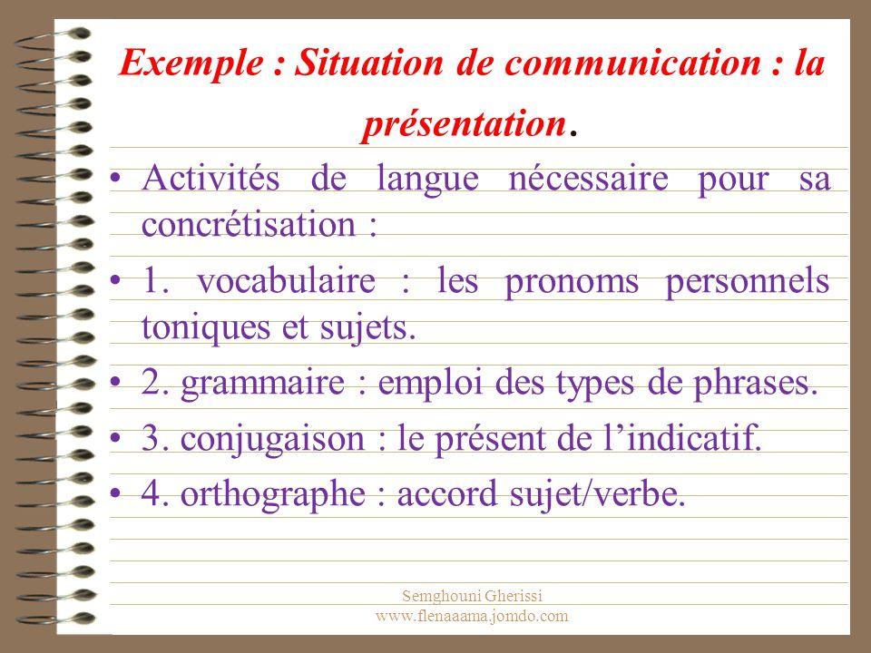 Exemple : Situation de communication : la présentation. Activités de langue nécessaire pour sa concrétisation : 1. vocabulaire : les pronoms personnel