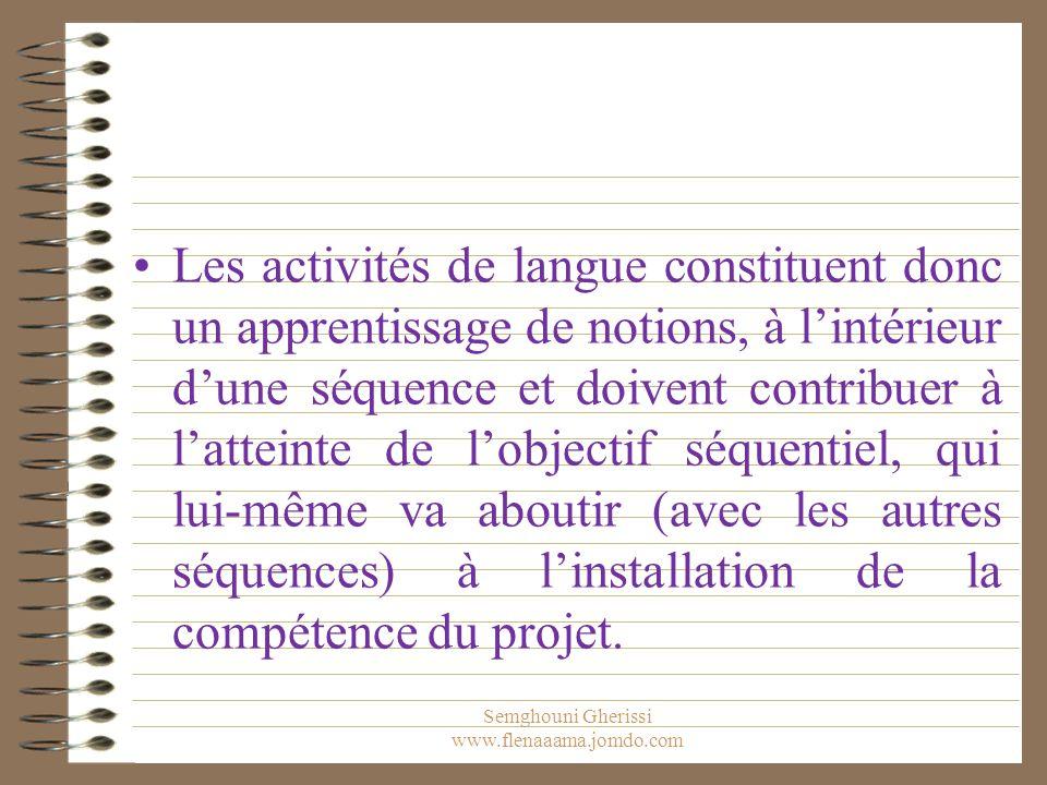 Les activités de langue constituent donc un apprentissage de notions, à l'intérieur d'une séquence et doivent contribuer à l'atteinte de l'objectif séquentiel, qui lui-même va aboutir (avec les autres séquences) à l'installation de la compétence du projet.