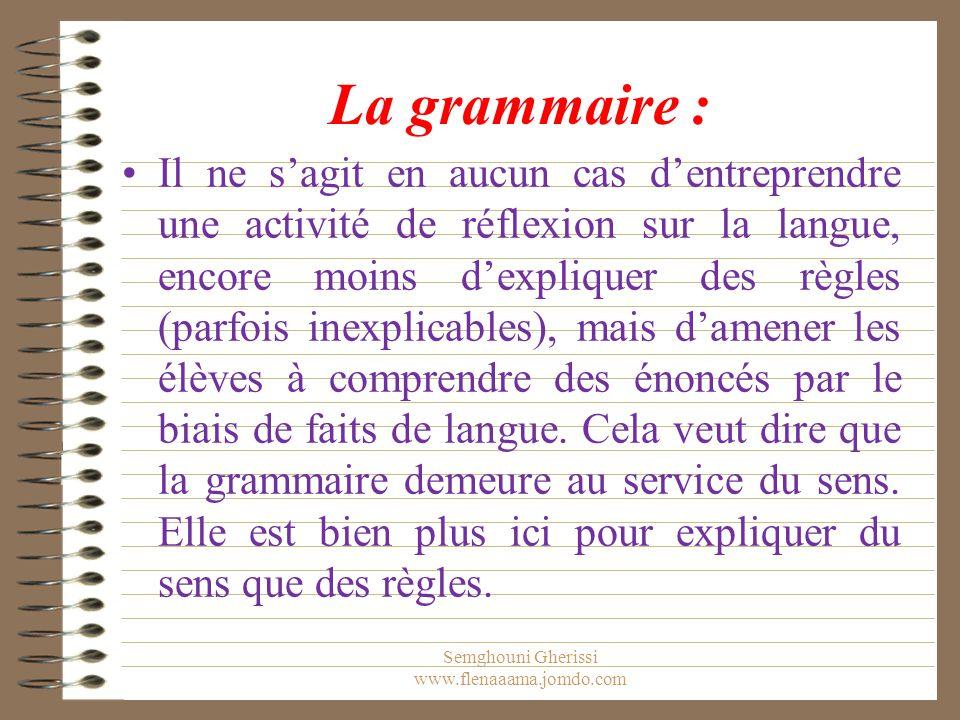 La grammaire : Il ne s'agit en aucun cas d'entreprendre une activité de réflexion sur la langue, encore moins d'expliquer des règles (parfois inexplicables), mais d'amener les élèves à comprendre des énoncés par le biais de faits de langue.