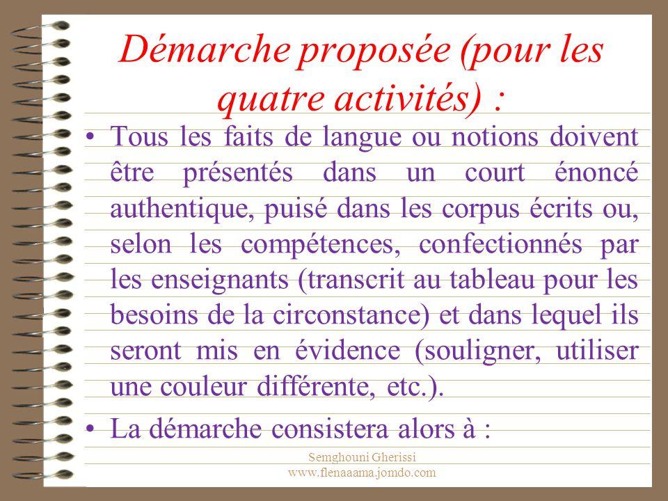 Démarche proposée (pour les quatre activités) : Tous les faits de langue ou notions doivent être présentés dans un court énoncé authentique, puisé dan