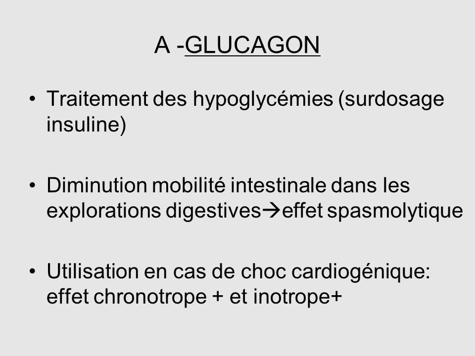 A -GLUCAGON Traitement des hypoglycémies (surdosage insuline) Diminution mobilité intestinale dans les explorations digestives  effet spasmolytique U