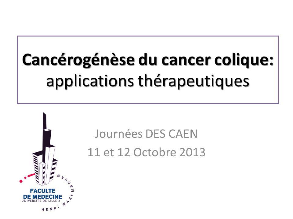 Cancérogénèse du cancer colique: applications thérapeutiques Journées DES CAEN 11 et 12 Octobre 2013