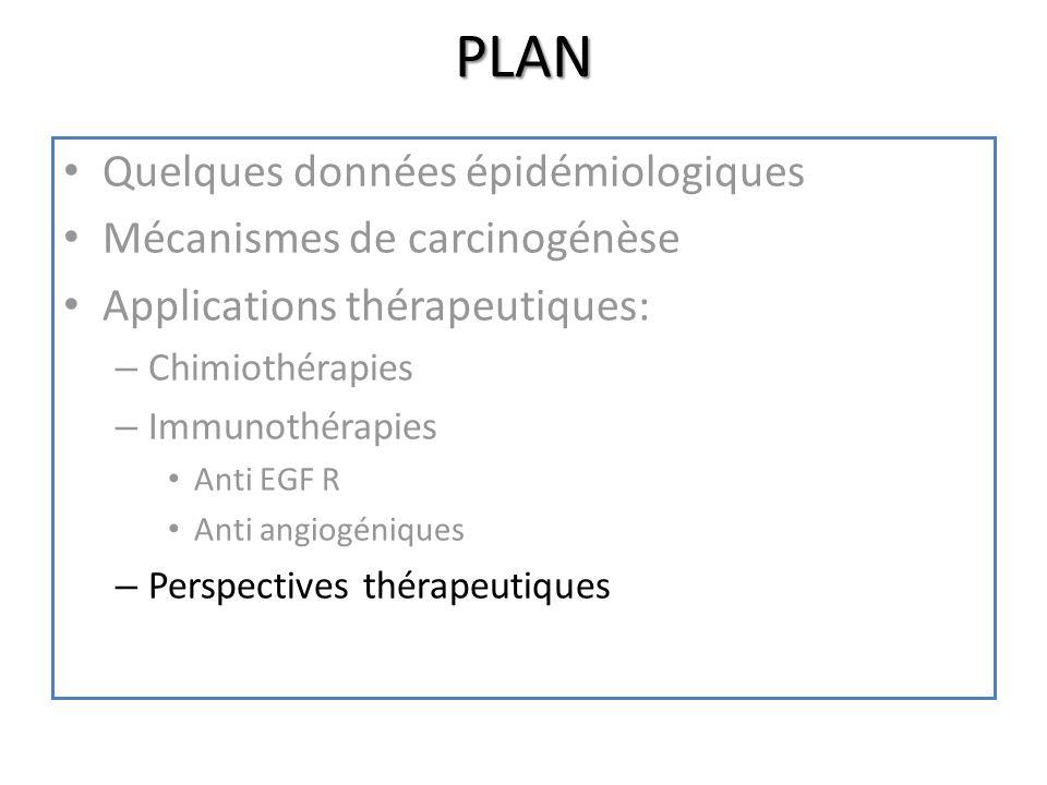 PLAN Quelques données épidémiologiques Mécanismes de carcinogénèse Applications thérapeutiques: – Chimiothérapies – Immunothérapies Anti EGF R Anti an