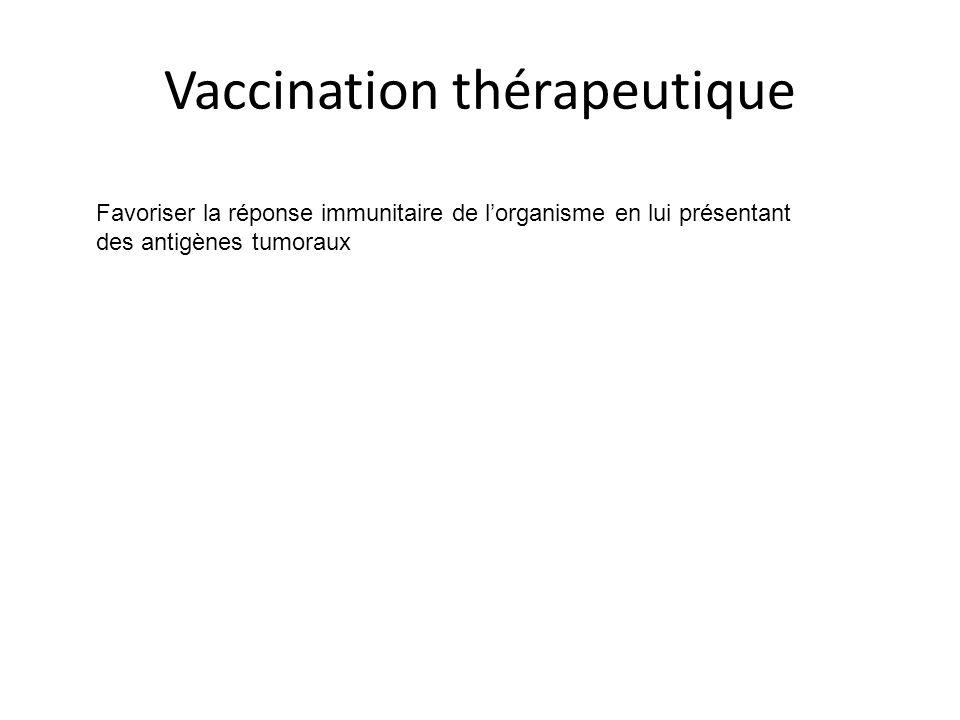Vaccination thérapeutique Favoriser la réponse immunitaire de l'organisme en lui présentant des antigènes tumoraux