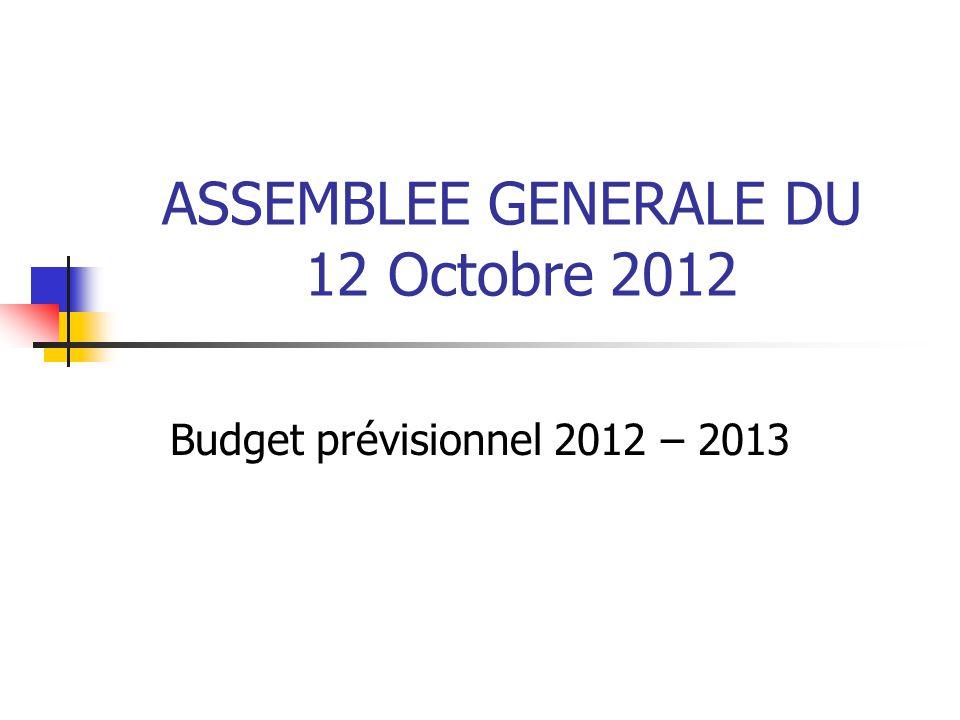 ASSEMBLEE GENERALE DU 12 Octobre 2012 Budget prévisionnel 2012 – 2013