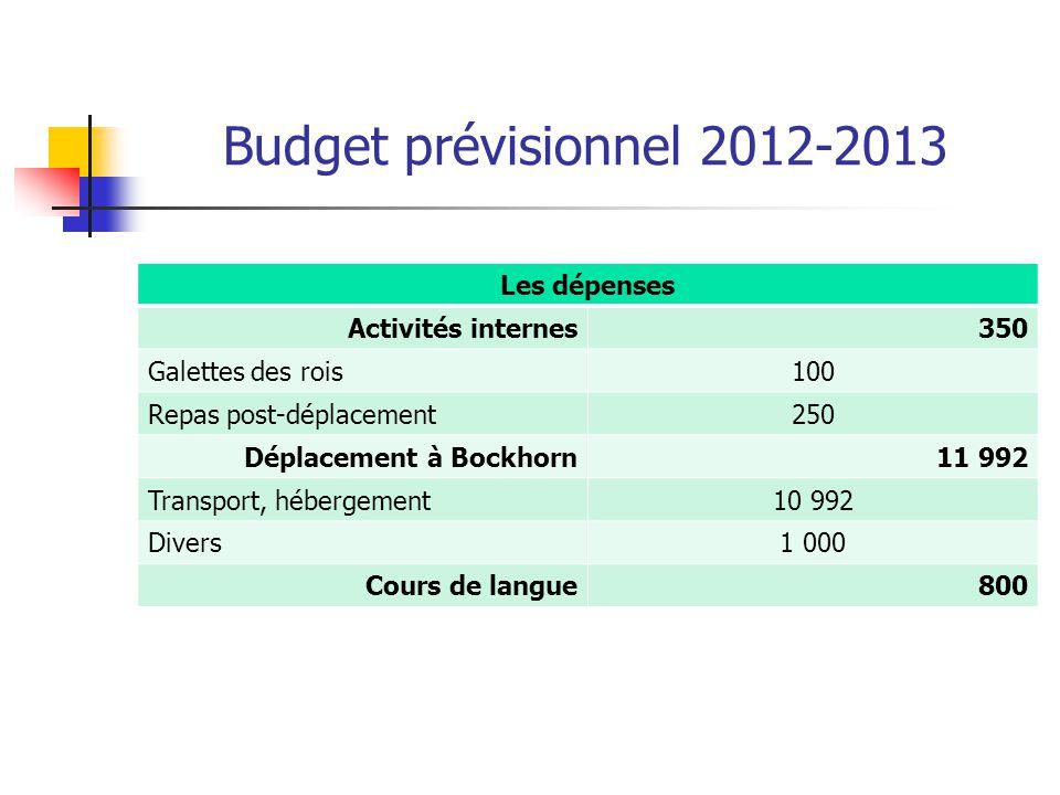 Budget prévisionnel 2012-2013 Les dépenses Activités internes350 Galettes des rois100 Repas post-déplacement250 Déplacement à Bockhorn11 992 Transport